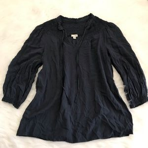 Anthropologie Odille Blue 3/4 Sleeve Blouse